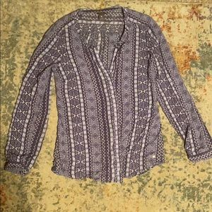 Eddie Bauer button down tribal patterned blouse